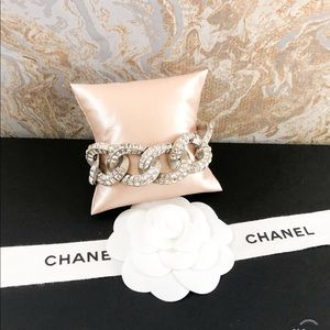 Chanel Strass Crystal Curb Chain Link Bracelet